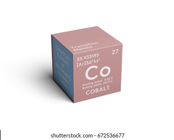 Cobalt. Transition metals. Chemical Element of Mendeleev's Periodic Table. Cobalt in square cube creative concept.