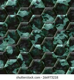 Cobble hexagon dark green stone background - illustrated seamless texture