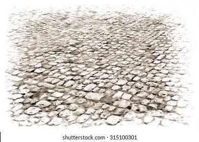 cobblestone background - illustration based on own photo image