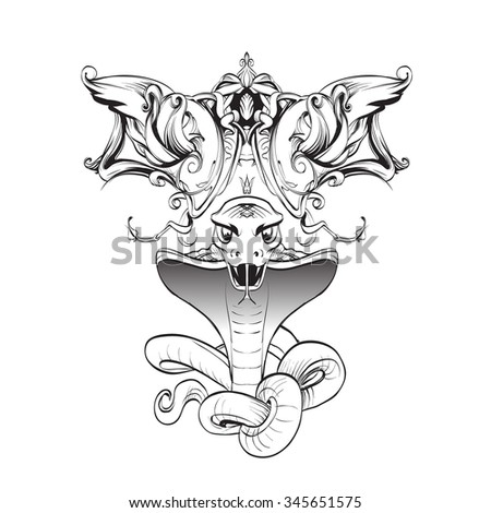 cobra snake bared teeth template attack stock illustration 345651575