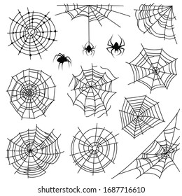 Cobweb. Halloween monochrome spiderweb and dangerous spider. Web silhouettes for creepy horror tattoo and decoration, net corner spooky frames set