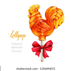 Cockerel on a stick, Russian rooster, Cockerel candy,  Lollipop in form of rooster, cockerel. Watercolor illustration