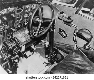 Cockpit of Amelia Earhart's plane, a Lockheed L-10E Electra, transmitter key from which she transmitted an urgent SOS from somewhere in the central Pacific Ocean where her plane vanished July 2, 1937.