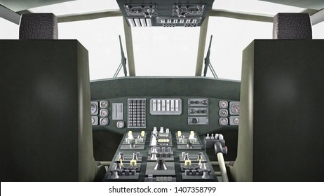 Cockpit of helicopter in flight, military aircraft, army chopper isolated on white background, 3D rendering