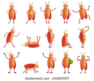 Cockroach icons set. Cartoon set of cockroach icons for web design