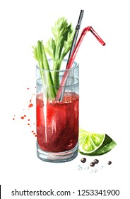 Cocktail with alcohol Bloody Mary with celery. Watercolor hand drawn illustration  isolated on white background