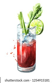 Cocktail with alcohol Bloody Mary with celery. Watercolor hand drawn illustration,  isolated on white background