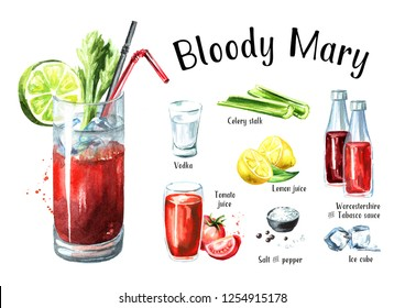 Cocktail with alcohol Bloody Mary ingredients set. Watercolor hand drawn illustration  isolated on white background
