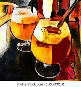 A cocktail of alcoholic beverage. Bar theme in the style of modern abstraction. The picture is made by oil on canvas with elements of pastel painting.
