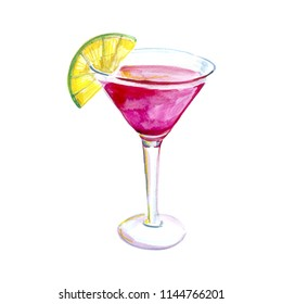 cocktail cosmopolitan watercolor illustration, picture for the menu in the bar, alcoholic drink for girls