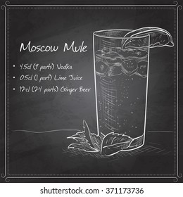 Cocktail with ginger and lime Moscow Mule on black board