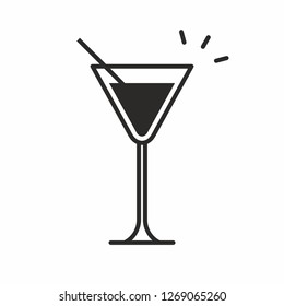 Cocktail icon. Isolated on White background
