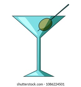 Cocktail olive icon. Cartoon illustration of cocktail olive icon for web