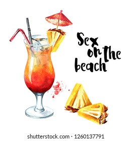 Cocktail party. Sex on the beach cocktail. Watercolor hand drawn illustration,  isolated on white background