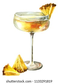 Cocktail with pineapple juice in wineglass , watercolor illustration on a white background