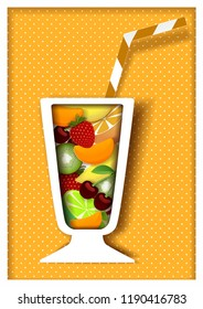 Cocktail poster design template. paper cut cocktail glass with different fruits and drinking straw.