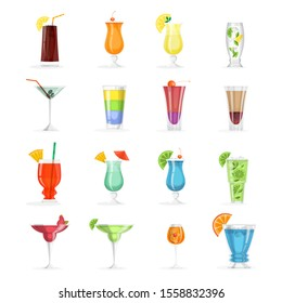 Cocktail set. Collection of alcohol drink in glass. Margarita and cosmopolitan. mojito. Tropical summer beverage.  illustration in cartoon style