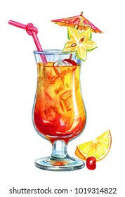 Cocktail of tropical fruits, watercolor illustration on white background, isolated.