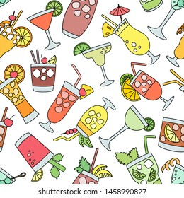 Cocktail vector alcohol beverage drinking alcoholic tequila martini drink cocktail in a glass with pina colada mojito and cosmopolitan or drinkable bellinis seamless pattern background