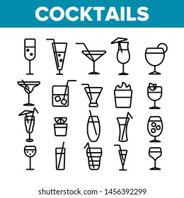 Cocktails, Alcohol and Soft Drinks Linear Icons Set. Alcoholic Beverages Thin Line Contour Symbols Pack. Shots Collection. Various Cocktail Liquors. Bar Beverages Outline Illustrations