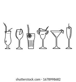 Cocktails bar menu set in black and white illustration