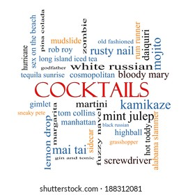 Cocktails Word Cloud Concept with great terms such as martini, highball, gimlet and more.