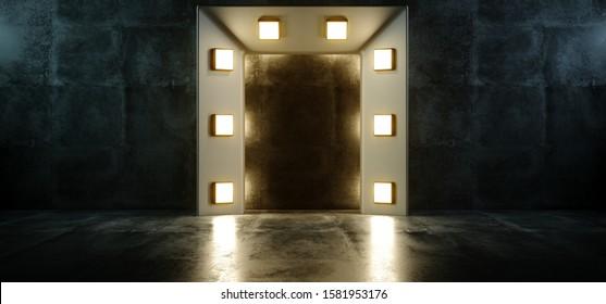 Cocnrete Grunge Room Fashion Podium Door Lights Star Show Reflections Studio Stage Night Empty Rectangle Led Lights 3D Rendering Illustration
