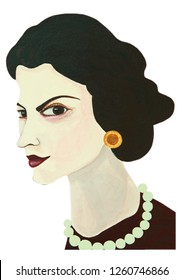 Coco Chanel portrait illustration acrylic color painting on canvas