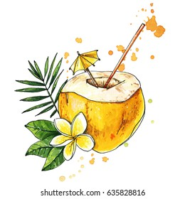 Coconut cocktail. Hand drawn coconut drink, cocktail with straw and flower