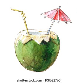 Coconut Cocktail, watercolor illustration