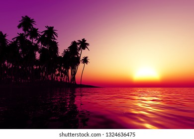 coconut islands at orange sunset over tropic sea, 3D rendering