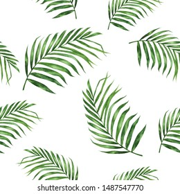 Coconut leaf hand drawn watercolor illustration. Seamless pattern.