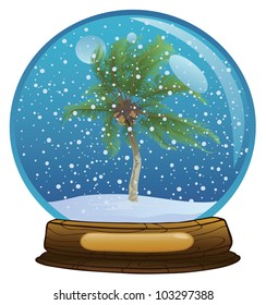 Coconut palm tree in the sphere with a snow