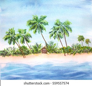 coconut trees over clear sky on day noon light. Beach paradiseWatercolor background, tropical landscape. Bali hut