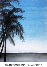 Cocunut palm trees on the beach watercolor paint background