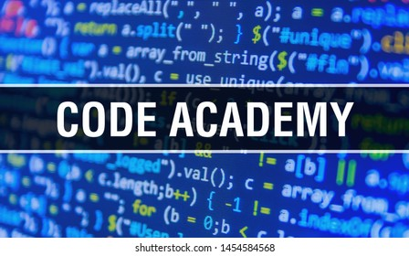 code academy concept with Random Parts of Program Code. academy with Programming abstract technology background of software developer and Computer script. code academy Background concept