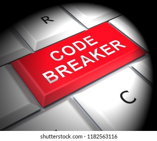 Code Breaker Decoded Data Hack 3d Rendering Shows Encryption Breaking And Cyber Source Decoded