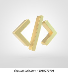 Code icon. 3d render of golden code symbol isolated on white background.
