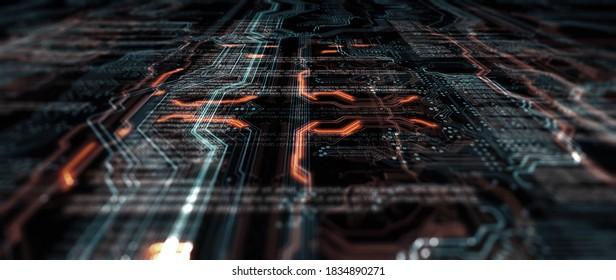 Codeverarbeitung im abstrakten Schaltkreis-Server. Die Daten bewegen sich in Form von beweglichen Linien. Die Bewegung und Verarbeitung von Daten innerhalb eines Servers oder Computers. 3D-Rendering/Printboard futuristisch