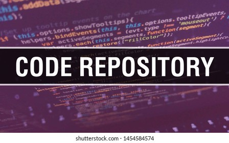 Code repository with Binary code digital technology background. Abstract background with program and Code repository. Programming and coding technology background. repository with Program