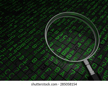 Code Review - magnifying glass with focus on computer source code or hex data.