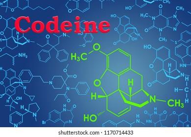 Codeine. Chemical formula, molecular structure. 3D rendering
