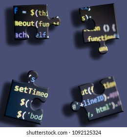 Coding application puzzle. puzzle from computer source code. the problem of compiling source code. programming training