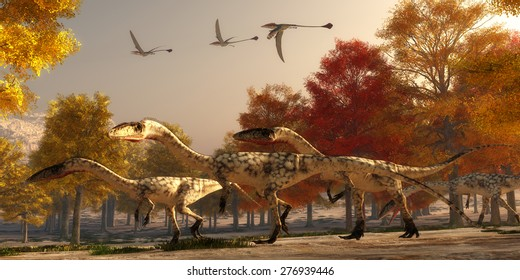 Coelophysis Hunting - Three flying Eudimorphodons pass a group of Coelophysis hunting for prey through a forest of autumn trees in the Triassic Period.
