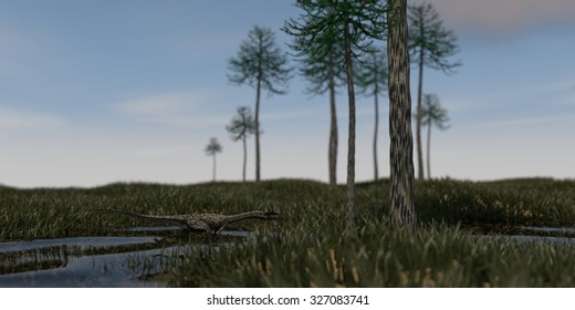 coelophysis running in swamp waters