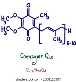 Coenzyme Q₁₀, also known as ubiquinone, ubidecarenone, coenzyme Q, and abbreviated at times to CoQ₁₀, CoQ, or Q₁₀ is a coenzyme that is ubiquitous in animals and most bacteria.