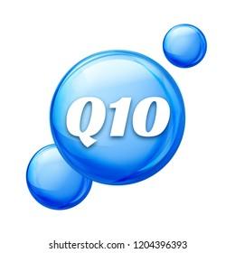 Coenzyme Q10. Golden oil icon. Treatment drop pill capsule. Q10 skin care wellness.
