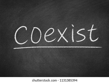 coexist concept word on a blackboard background
