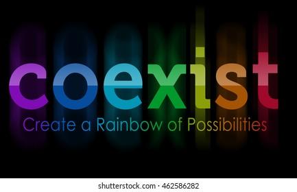 """""""Coexist"""" in rainbow colors"""