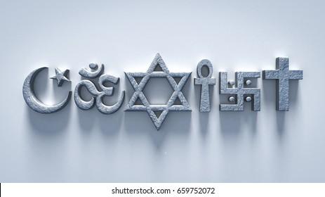 coexist religion symbols 3d rendering